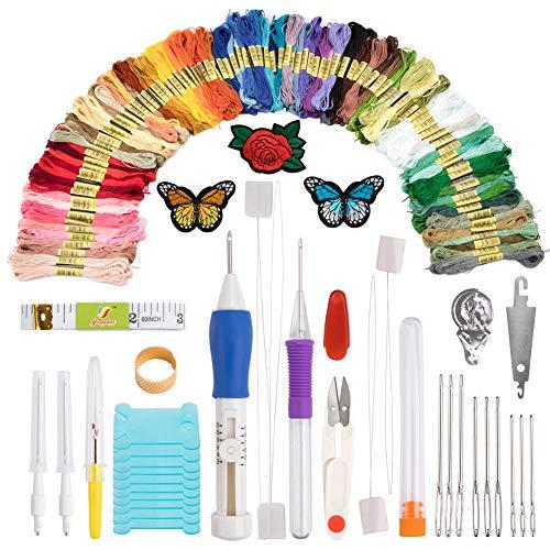 BCMRUN Stickereistift, Stanznadel, Stickerei/Muster, Garn und Schere, Geschenkset, Sticknadeln, Starter-Set, Bastelwerkzeug, inklusive 100 Farben Knäuel, Stickgarn zum Nähen, Stricken