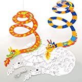 Baker Ross AT635 Dragon Spiral Mobiles - Pack of 10, Woodcrafts for Kids to Design, Paint, Decorate and Then Use