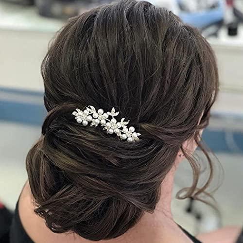 Runmi Pines para el pelo de novia de la boda de la hoja de plata, accesorios para el pelo nupcial, accesorio de pelo de cristal para mujeres