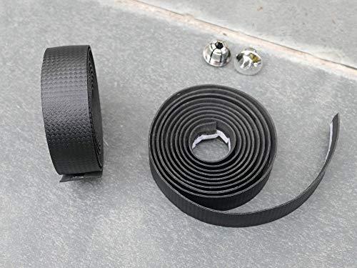 K-Fang, Zwart - 3 K Weave Carbon Fietsen Racefiets Sport Fiets Kurk Stuur Tape 2 Bar Plugs Bar Tapes Koolstofvezel