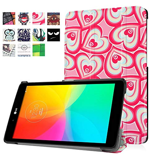 for LG GPad X 8.0 T-Mobile V521 V522 AT&T V520 Leather Case, Ultra Slim Lightweight Folio Stand Cover for LG G Pad III 3 8.0 V525 8 Inch Tablet (Dreamy Hearts)