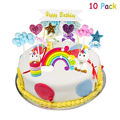 ♕ PersTortas de tortas que incluyen: 1pcs Rainbow Unicorn , 1pcs Sitting Unicorn , 1pcs Rainbow, 1pcs Happy Birthday Banner, 1pcs Blue Cloud, 1pcs Pink Cloud, 1pcs Gold Star, 1pcs Blue Star, 1pcs Pink Love, 1 pcs Purple Love. Es tan lindo y colorido,...