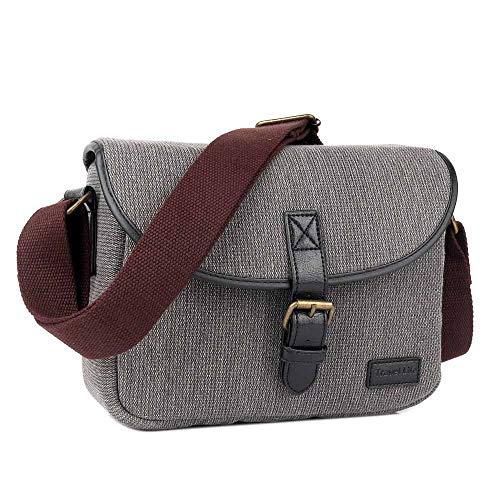Neuleben Klein Kameratasche für Spiegelreflex Systemkamera SLR DSLR Tasche Fototasche Vintage Messenger Umhängetasche Damen Herren (Grau)