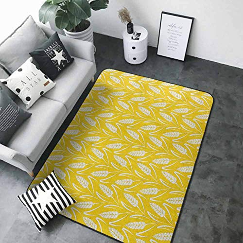 Floor Mat Kitchen Long Carpet Yellow and White,Growing Rye Field Silhouettes of Wheat Ears Whole Grain Natural, Earth Yellow White 48