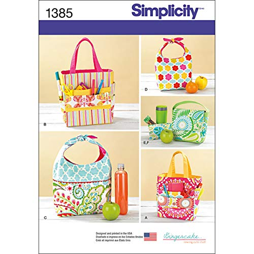 Simplicity 1385 Art Tote Bag, Lunch Box, and Snack Bag Sewing Patterns, One Size Only