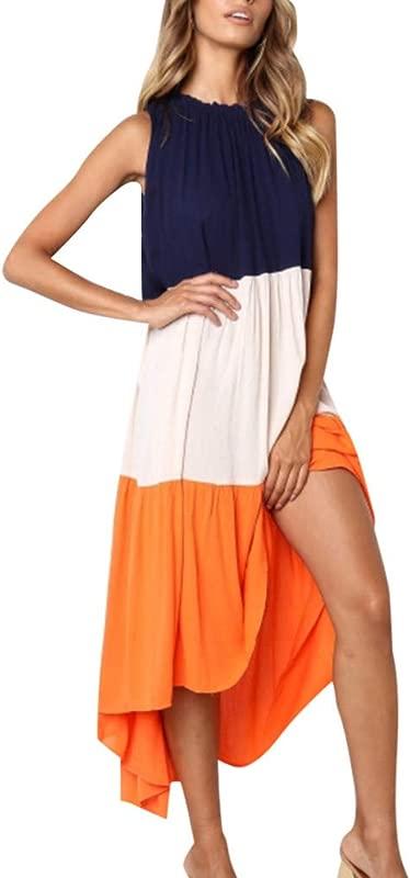 Kemilove Women S Patchwork Dress Casual O Neck Sleeveless Dress Loose Layered Long Maxi Dress Contrast Color Dress