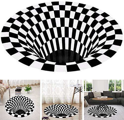 3D Swirl Print Optical Illusion Rug Carpet,Illusion Decorative Carpet,Non-Slip Vortex 3D Illusion Carpet,Stereo Vision Carpet,Non-Slip Vortex 3D,Bedroom Mat Black