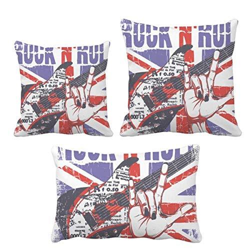 DIYthinker - Juego de fundas de cojín, diseño de guitarra de roca, bandera de Inglaterra y Reino Unido
