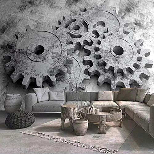 Murales de papel tapiz 3D, engranaje gris creativo, arte moderno, pintura de pared, sala de estar, dormitorio, sala de estudio, decoración, Mural de pared-350x256cm