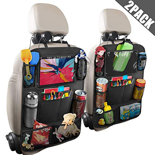 anban Car Backseat Organizer, Seat Back Protectors with 10 inch Tablet Holder + 9 Storage Pockets Kick Mats for Book Drink Toy Bottle, Travel Accessories for Kids Toddlers Black, 2 Pack