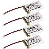Batteria Lipo 3,7 V 3000 mAh 1S 3C Batteria ricaricabile al litio con scheda di protezione, nastro isolante in gomma e spina Micro JST 1.25 per scheda di sviluppo Arduino Nodemcu ESP32 (4 pezzi)