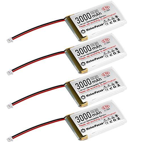 Seamuing 4 Stück 3,7 V 3000 mAh Lithium Akku 1S 3C Lipo Akku mit Schutzplatine, Isolierband und Micro JST 1.25-Stecker für Arduino Nodemcu ESP32-Entwicklungsplatine