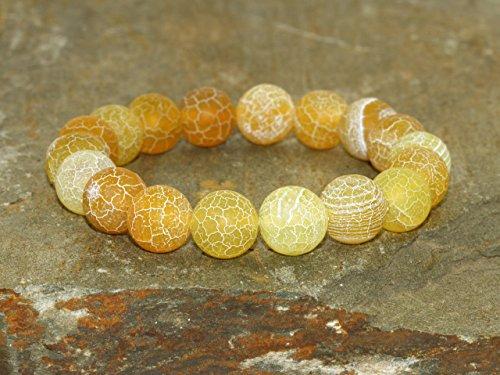 Pulsera de Ágata Eflorescente Amarilla de 10 mm, Joyería de ágatas amarillas, pulsera de Yoga, pulsera Boho Chic, Pulsera elástica de cuentas de Mala, pulsera curativa, joyas de Yoga amarilla