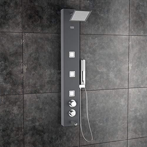 Jaaz Ariel Aluminium Standard Size Shower Panel (Black)