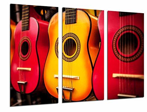 Afbeelding met Spaanse gitaren in oranje kleuren, flamingo, totale grootte: 97 x 62 cm XXL