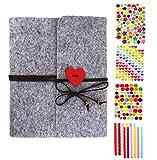Álbum de fotos para personalizar, vintage, fieltro, álbum de fotos, álbum de recortes, San Valentín, aniversario, cumpleaños, productos de fieltro (19,5 x 18 cm)