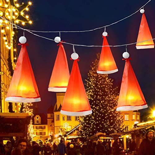RetroFun Weihnachtsdekorationen beleuchtete Weihnachtsmütze, 8,2 Fuß 18 LEDs 6 Stück hängende Fee Weihnachtsmütze wasserdichte Lichterketten Dekor für Hausgarten Patio, USB oder batteriebetrieben