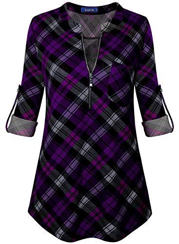 Amrto Damen V-Ausschnitt Kariert Bluse 3/4 Ärmel Reißverschluss Tunika Casual Langshirt Hemd T-Shirt Tops, Schwarz-Lila Kariert Medium