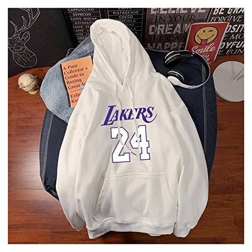 Mamba Negra para Siempre!Kobe Los Angeles 24# Sudadera con Capucha de Baloncesto para Hombre Mamba Kobe Un año Aniversario Fans Memorial Sweatshirt-LQY-C1351 (Color : White, Size : XXXL)