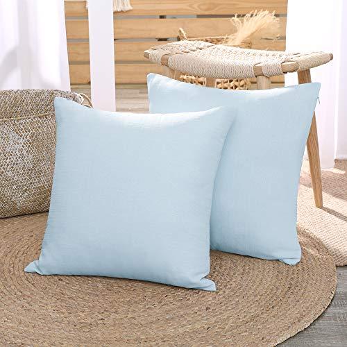 Deconovo Funda para Cojines para Dormitorio Salón Almohada 2 Piezas Azul Claro 40 x 40 cm