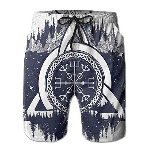 FHRPOLOS Blue and White Celtic Knot Men's Casual Swim Trunks Shorts Quick Dry Swimming Shorts