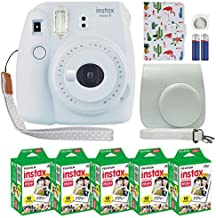 Fujifilm Instax Mini 9 Polaroid Instant Camera Smokey White with Custom Case + Fuji Instax Film Value Pack (50 Sheets) Flamingo Designer Photo Album for Fuji instax Mini 9 Photos