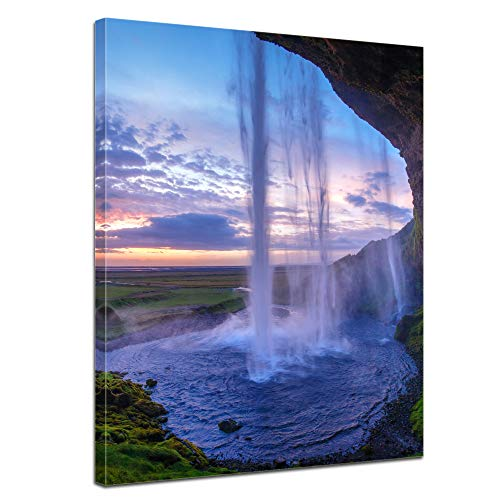 Bilderdepot24 Bild auf Leinwand   Seljalandsfoss Wasserfall Island in 30x40 cm als Wandbild   Wand-deko Dekoration Wohnung modern Bilder   211446