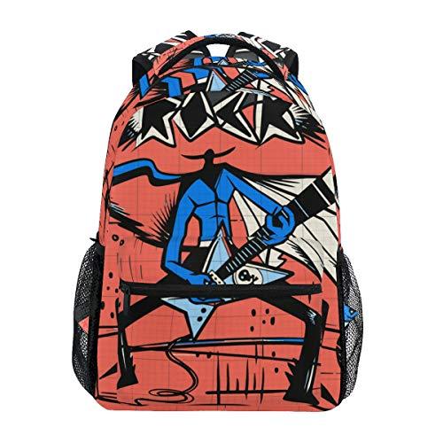 SIONOLY Rucksack,Illustrations Rockstar, der Gitarre an durchführt,Neu Lässige Daypack School Bookbag Verstellbare Umhängetaschen Reiserucksack