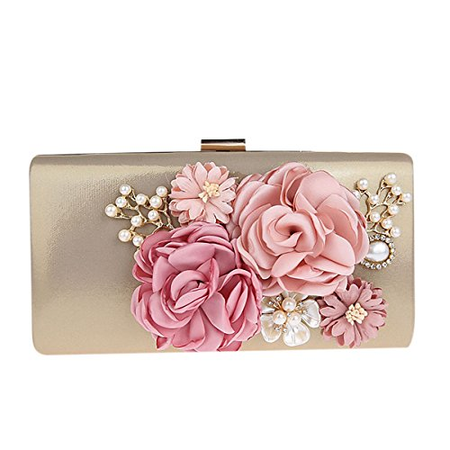 KELAND Frauen Satin Blume Abend Handtasche Clutch Perle Perlen (Gold)