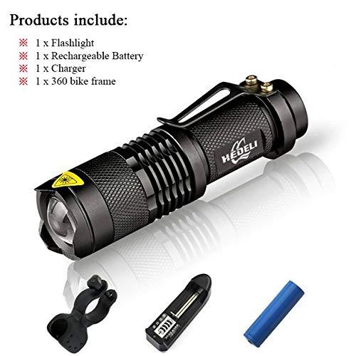 Package C, Suit B : CREE XM-L Q5 Mini Zoom Lampe torche LED 2000 lumens Searchlight Flash Light Lanternas 14500 batterie chargeur de batterie