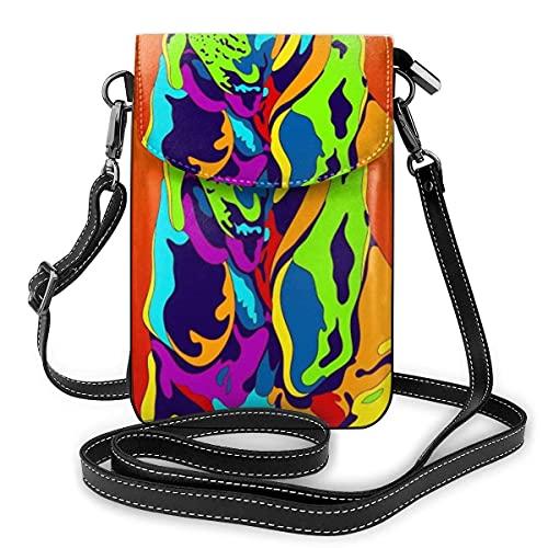 QQIAEJIA Bolso del teléfono celular de Crossbody del bloqueo del cuero de la PU del perro de Bloodhound multicolor para el monedero de la cartera de las mujeres