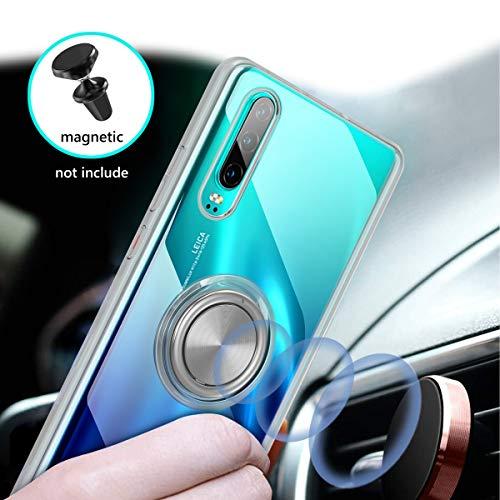 Vunake Huawei P30 Hülle, Silikon TPU Slim Cover Transparent Ultradünn Handyhülle mit 360 Grad Ring Stand Magnetische Autohalterung Schutzhülle Case für Huawei P30,Clear - 3