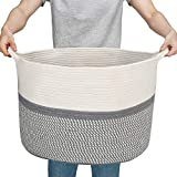 Woven Cotton Rope Basket,Large Toy Storage Organizer Blanket Basket Nursery Baskets Laundry Hamper,Storage Clothes Baskets with Handle Use for Bed Sheets, Baby Clothes