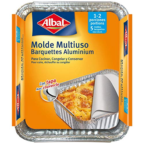 Albal Aluminio 0,5 litros, 16x13x6,5 Centímetros con Tapa | Desechables | Multiusos para Asar, Congelar y Conservar | 1-2 Porciones | 5 Moldes