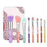 ENERGY Colorful Rainbow Makeup Powder Brush Set With Case Beauty Tools with Foundation Face Blending Blush Concealer Brow Eye Shadow Brushes Essential Cosmetics for Girl Women (8 Pcs)