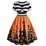 CHARMMA ROSEGAL Halloween Vestito Donna A Righe Linea ad A Taglie Forti Halloween Vestito Cocktail, L
