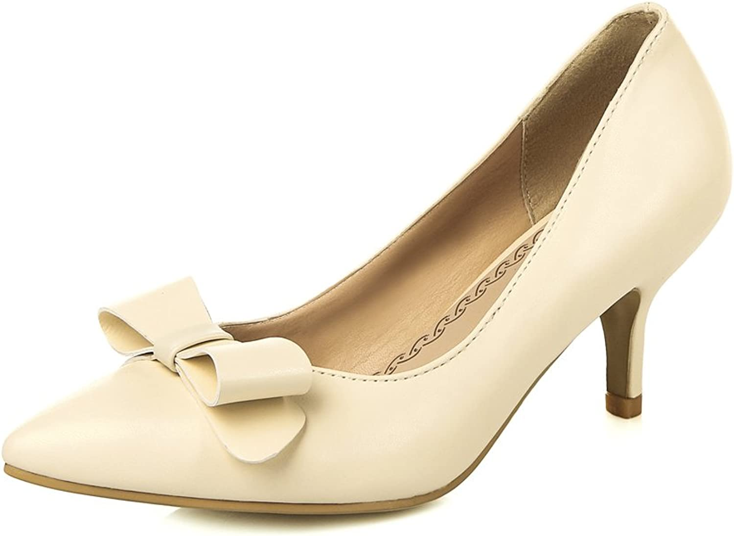 Lucksender Womens Pointed Toe Kitten Heels Fashion Pumps with Bowknot