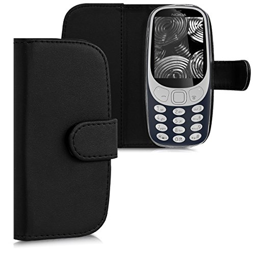 kwmobile Wallet Case Compatible with Nokia 3310 3G 2017 / 4G 2018 - PU Leather Flip Cover with Magnetic Closure, Card Slots and Kickstand - Black