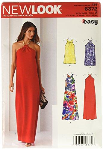 New Look 6372Größe A Schnittmuster Kleider jeweils in 2Längen, Mehrfarbig