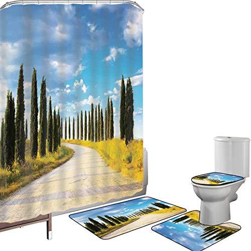 Ensemble de rideau douche Accessoires salleDécor toscan Couverture toilette pour tapis bain Vue d'un chemin de terre chemin entre la rangée d'arbres dans la culture de la ville historique de la Médite