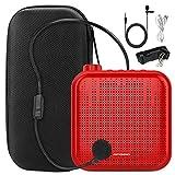 Joyhoop amplificador de voz portátil de 12 W, mini multifunción de 1200 mAh, con 2 micrófonos y bolsa de almacenamiento, utilizado para la formación de profesores (Rojo)