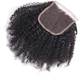 Feibin Afro Kinkys Curly Hair Closure 4x4 Free Part Lace Closure Mongolian Virgin Human Hair 4B 4C Natural Color 10 Inch