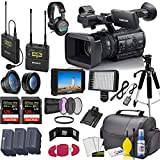 Sony PXW-Z150 4K XDCAM Camcorder (PXW-Z150) With Sony UWP-D21 Mic, 2 -Sandisk 128GB Cards, 2 Extra Batteries, LED Light, Case, Tripod, External Screen, Sony MDR-7506 Headphones and More - Pro Bundle
