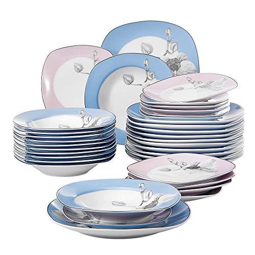 VEWEET Debbie 36 Piezas Juegos de Vajillas de Porcelana con 12 Platos,...