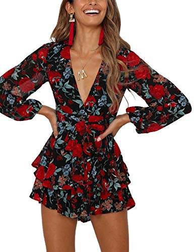 Women's Deep V-Neck Floral Print Romper Long Baggy Sleeves Double Layer Ruffle Hem Short Rompers with Belt (T2, X_Large)