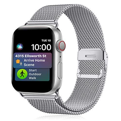 Funbiz Metallo Cinturino Compatible con Apple Watch 38mm 40mm 42mm 44mm, Bracciale di Ricambio Traspirante in Acciaio Inossidabile Compatibile con iWatch Series SE 6 5 4 3 2 1, 42mm/44mm-Argento