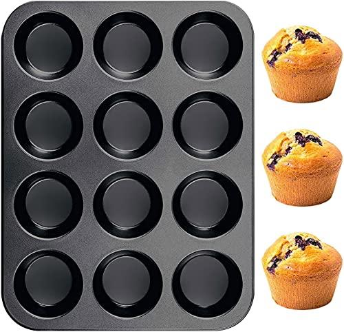 Muffinform Silikon Backform für 12 Muffins, Muffin Backblech 33 x 25 cm, Cupcake Formen Antihaftbeschichtet Standardgröße Spülmaschinengeeignet
