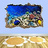 Etiqueta De La Pared 3D Peces de coral Acuario marino Smashed Wall Art Stickers Dormitorio de niños Nursery AC16 Murales De Vinilo 50x70cm