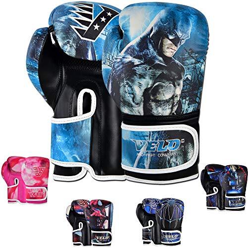 VELO. Gants de boxe pour enfants - 170,1 g, 113,4 g - Sac d'entraînement, de sparring, de frappe, de MMA (170,1 g, Batman)