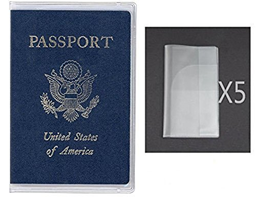 Exuun Plastic Passport Cover Passport Protector Passport Sleeve Sheet for US Passport UK Passport CN Passport etc (Pack of 5) (Transparent Clear)